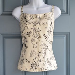 * Cream/Black Silk Floral Print Tank by Ann Taylor